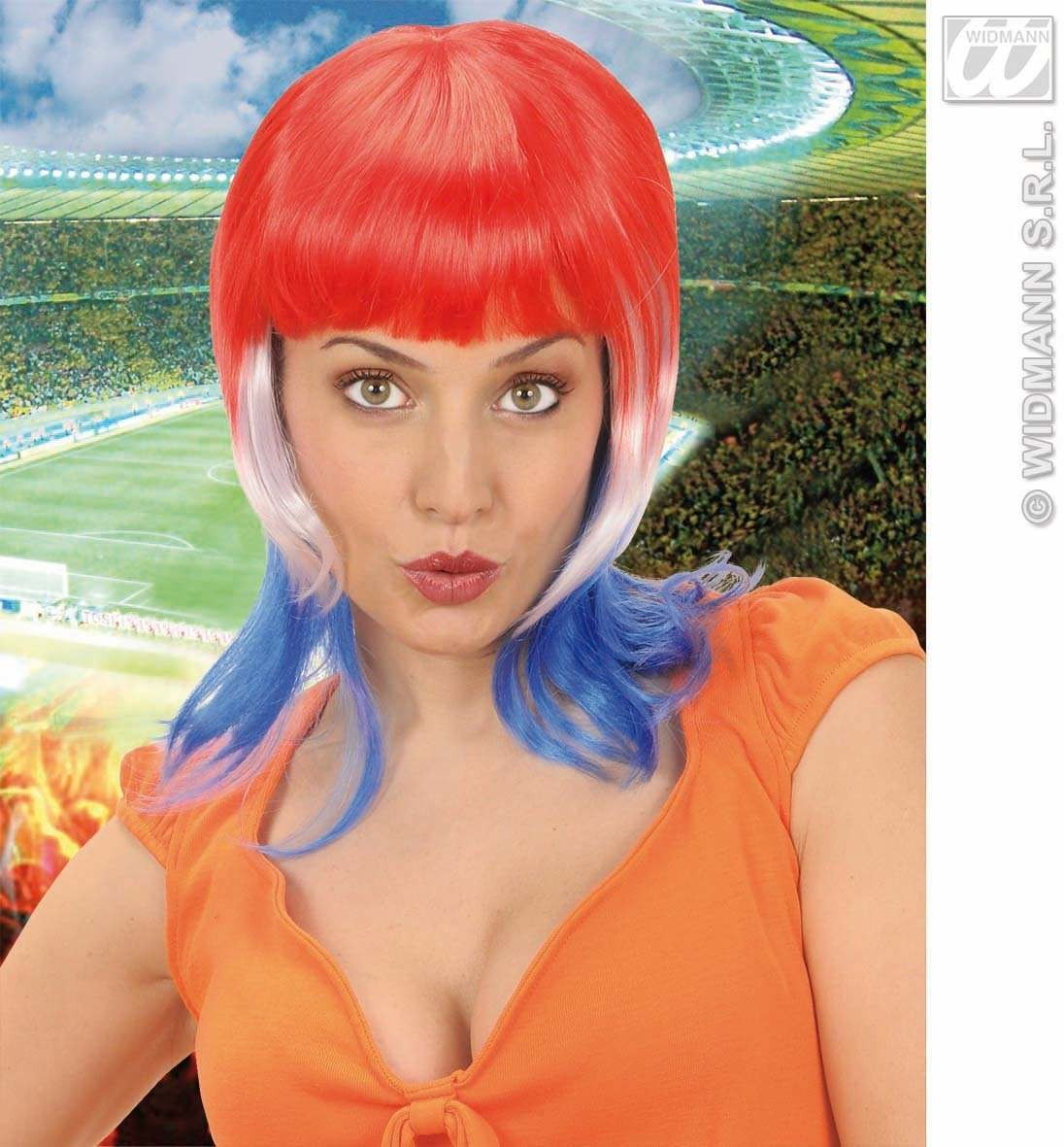 Supporter Woman Wig - Red/White/Blue - Fancy Dress