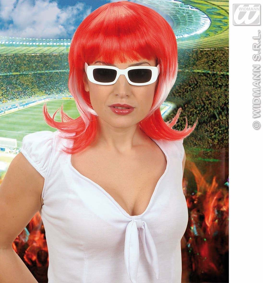 Supporter Woman Wig - Red - White - Red - Fancy Dress