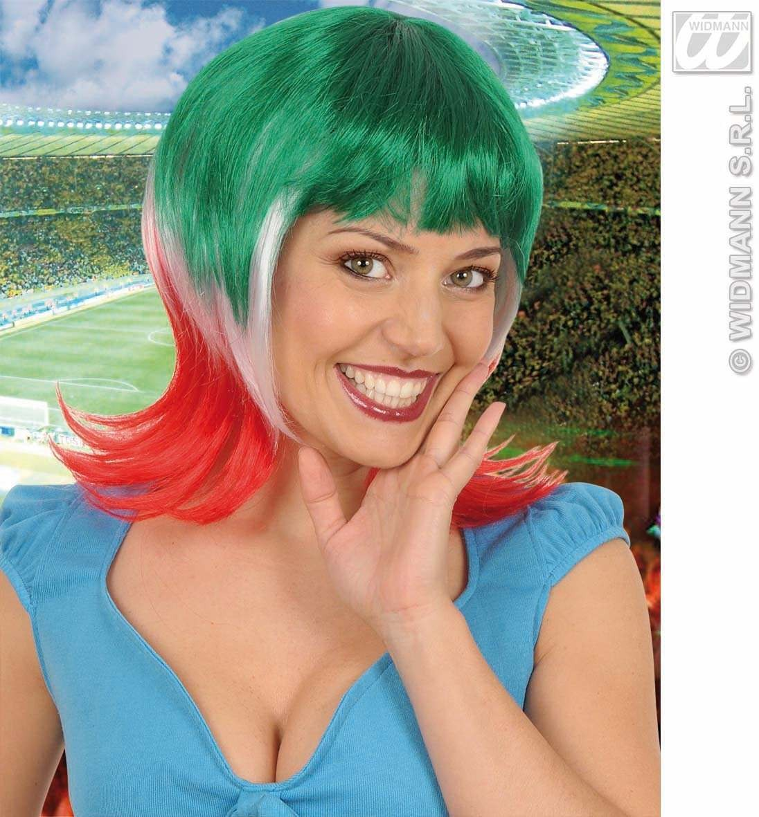 Supporter Woman Wig - Green - White - Red - Fancy Dress