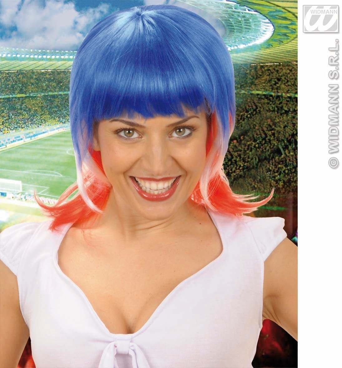 Supporter Woman Wig - Blue - White - Red - Fancy Dress
