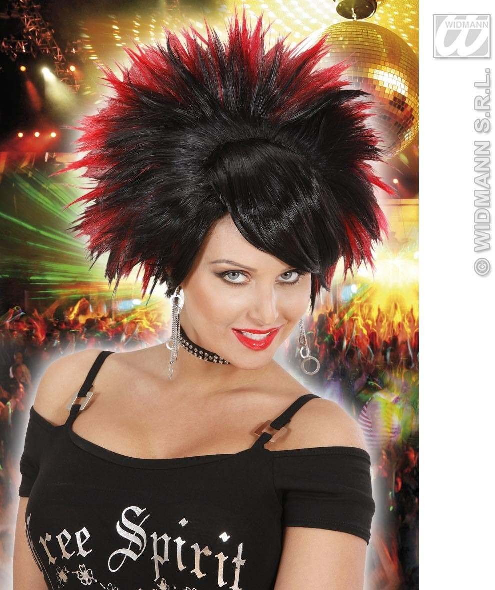 Rock Princess Wig - Black/Red - Fancy Dress