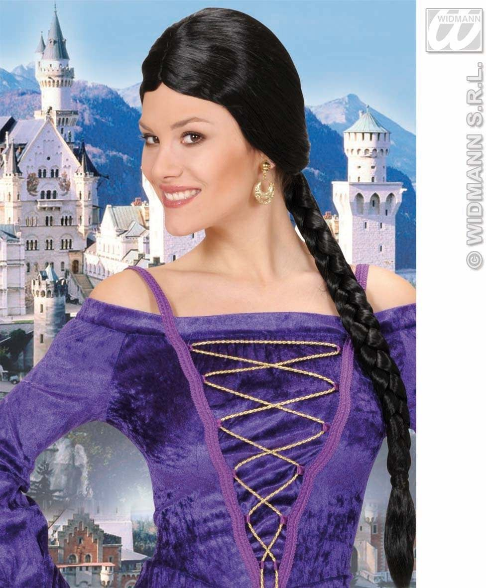 Castle Beauty Wig W/Plait - Black - Fancy Dress