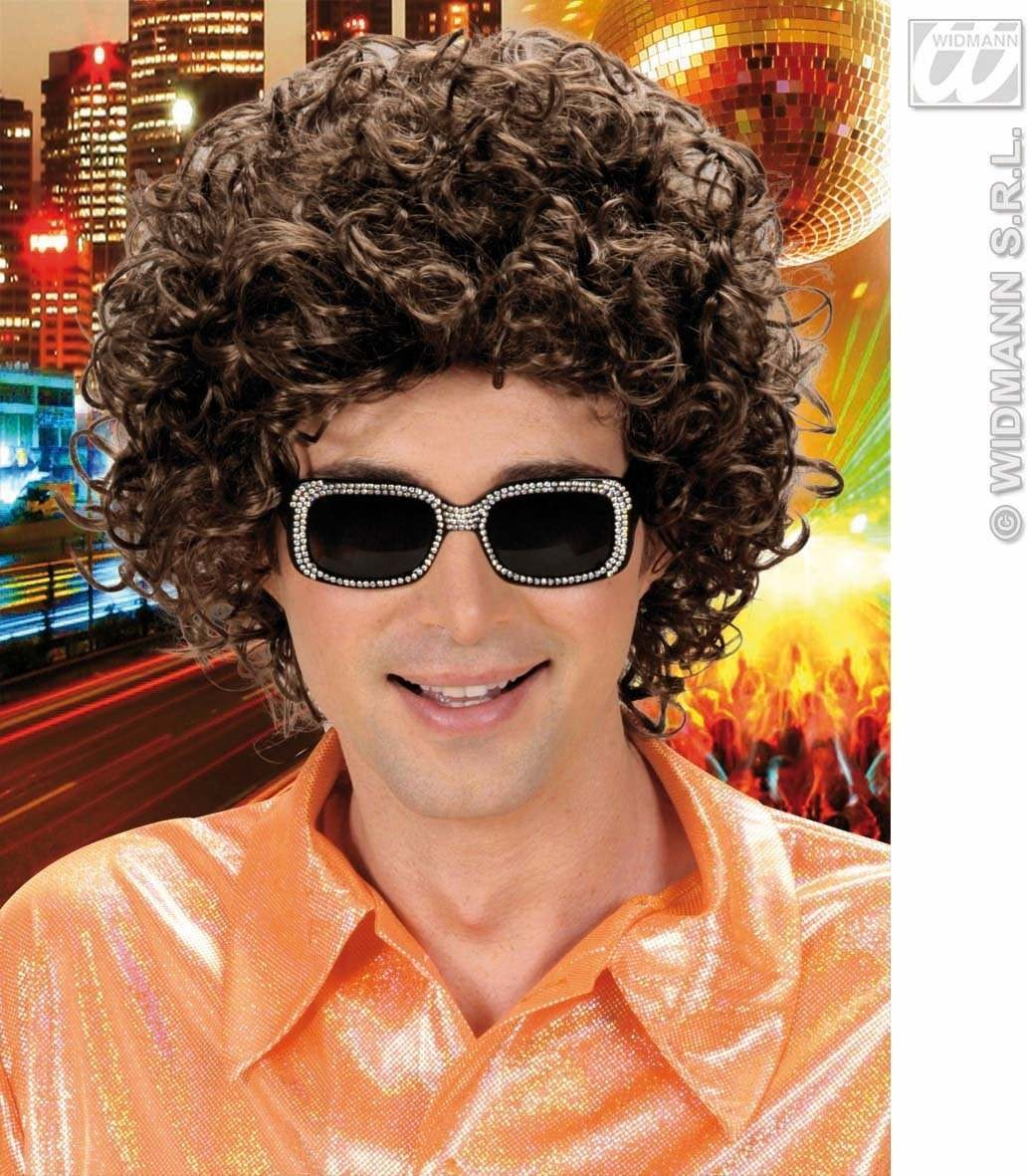 Curly Hair Man Wig - Brown - Fancy Dress