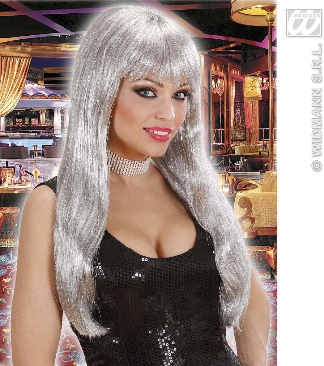 Glitzy Glamour Wig With Tinsel - Silver - Fancy Dress