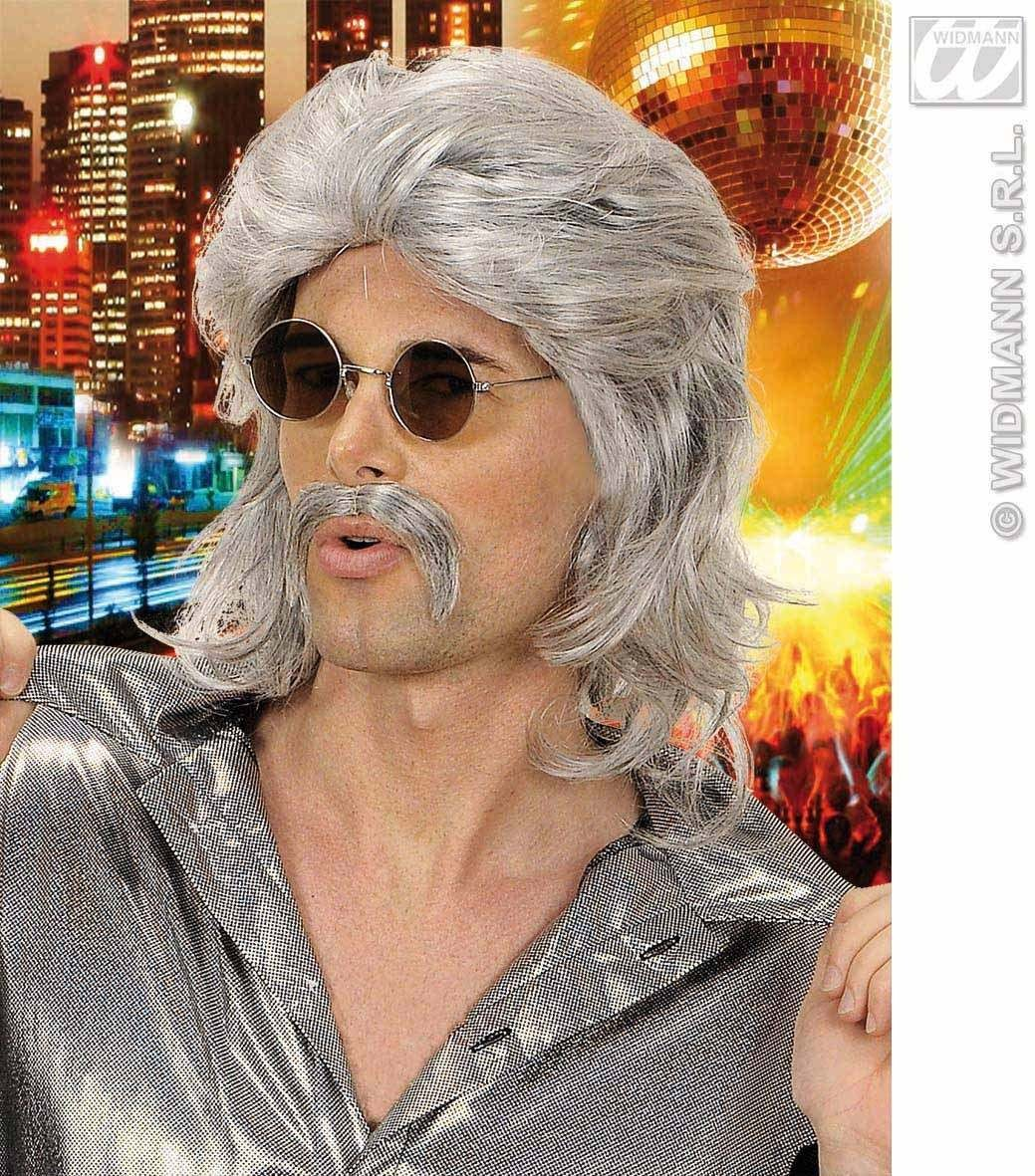70S Man Wig & Moustache - Grey - Fancy Dress (1970S)