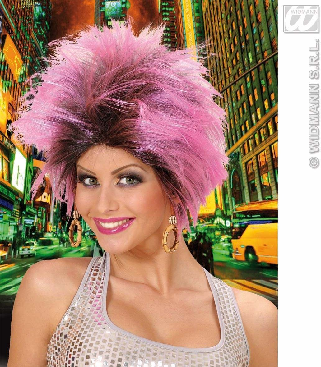 Urban Vibe Wig W/Earrings - Pink/Black - Fancy Dress