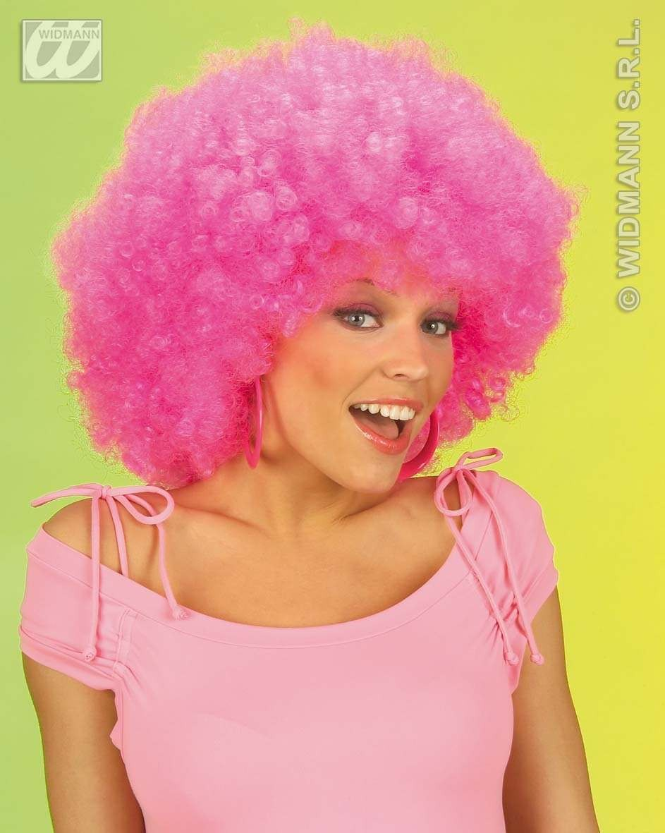 Jimmy Wig Extra Curly Pink - Fancy Dress