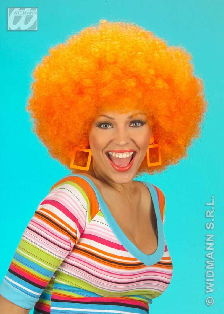 Jimmy Wig Extra Curly Orange - Fancy Dress