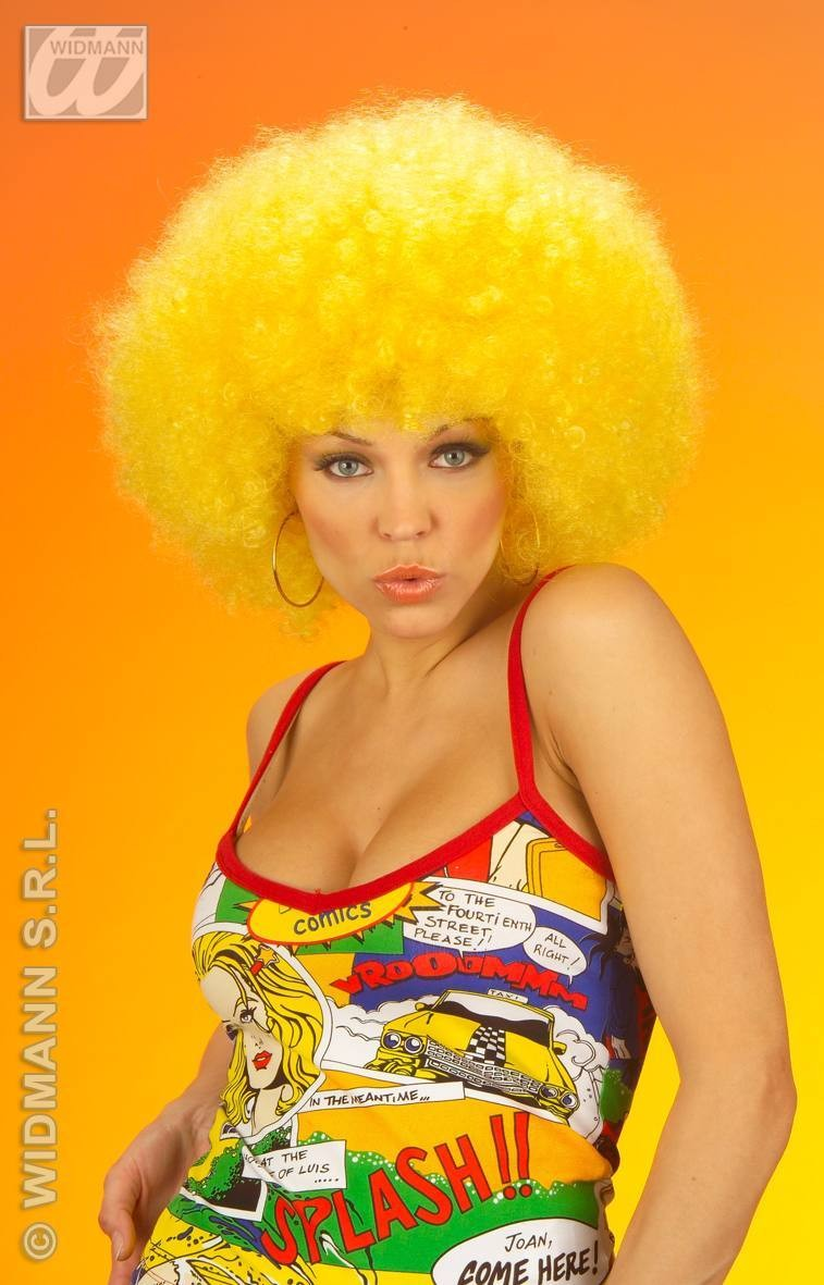 Jimmy Wig Extra Curly Yellow - Fancy Dress