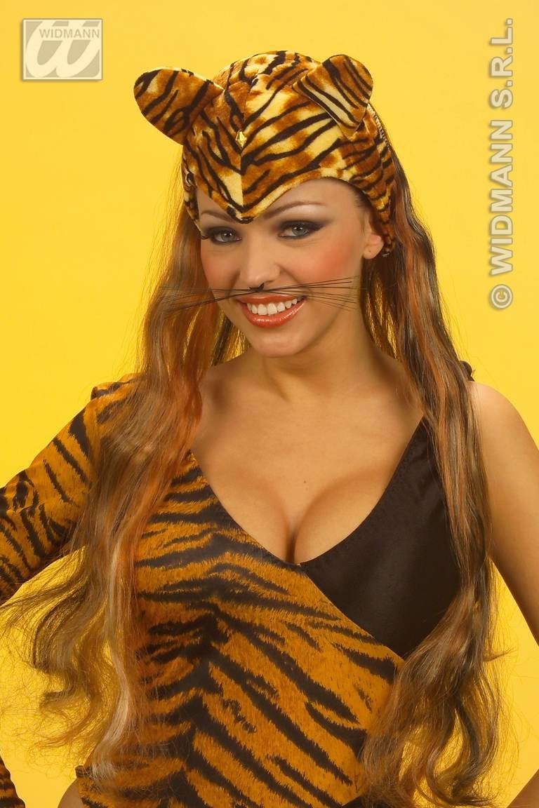 Velvet Tiger Headdresses W/Wig - Fancy Dress (Animals)
