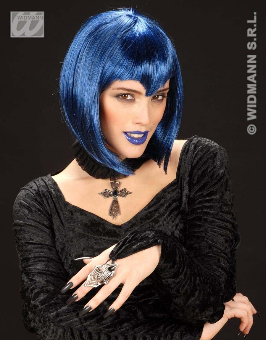 Gothic Vamp Wig Blue - Fancy Dress (Halloween)
