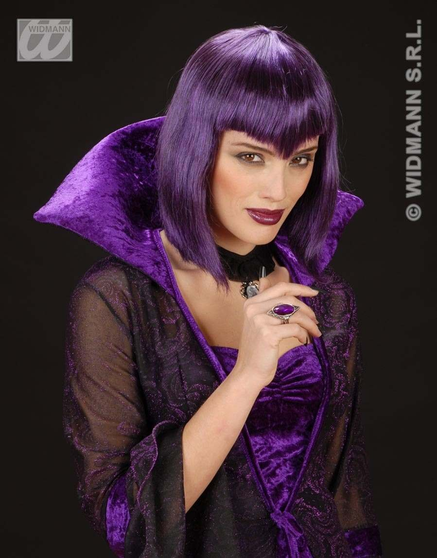 Gothic Vamp Wig Purple - Fancy Dress (Halloween)