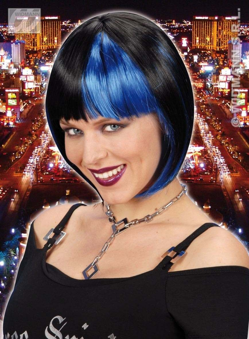 Zoey Wig - Black Streaked/Blue - Fancy Dress