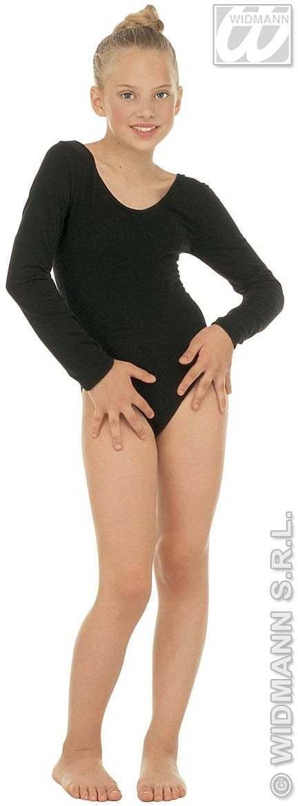 Leotard Girls W/Sleeves Black Fancy Dress Costume