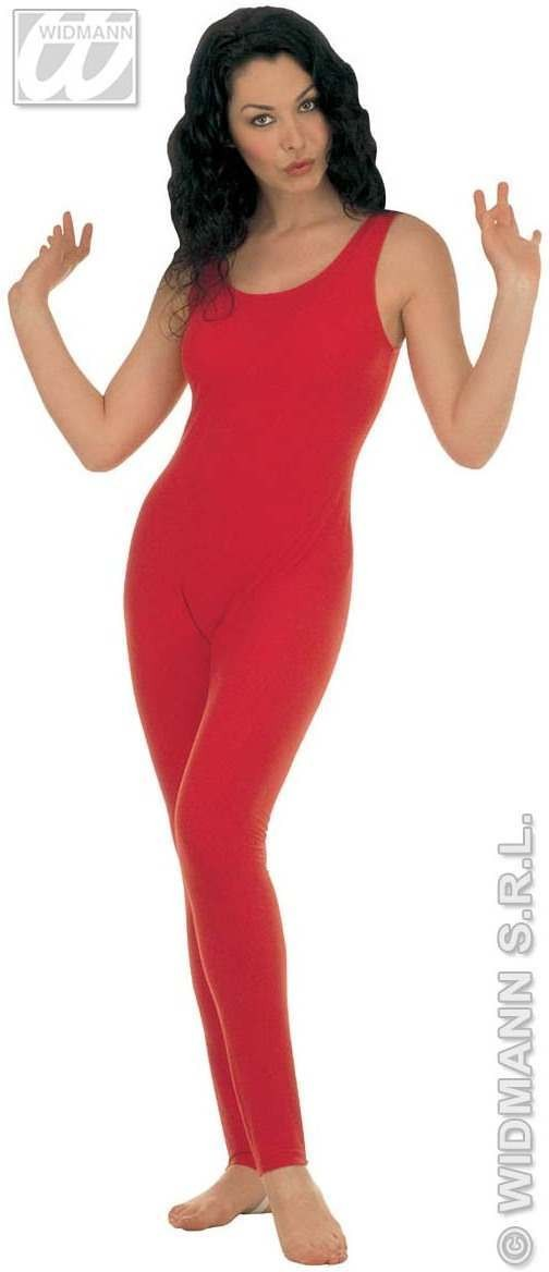 Lady Bodysuit W/Out Sleeves Red Fancy Dress Costume