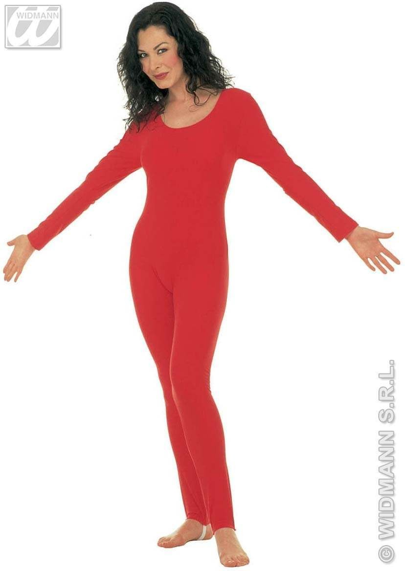 Lady Bodysuit W/Sleeves Red Fancy Dress Costume