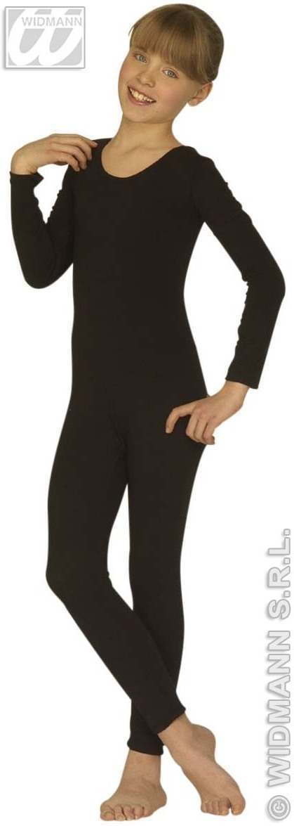 Bodysuit Child Black W/Long Sleeves Fancy Dress Costume
