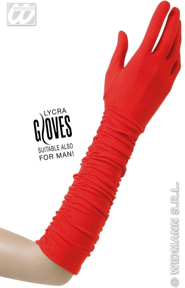 Plisse Lycra Gloves - Red - Fancy Dress