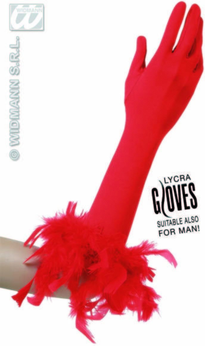 Red Gloves W/Red Feathers - Fancy Dress