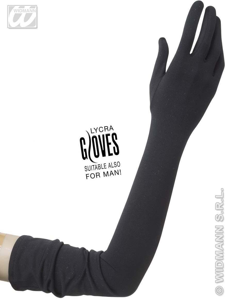 Black Lycra Gloves 60Cm - Fancy Dress