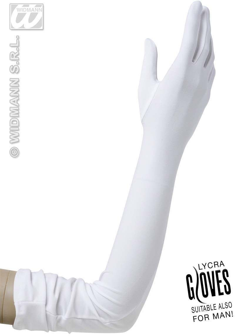 White Lycra Gloves 60Cm - Fancy Dress
