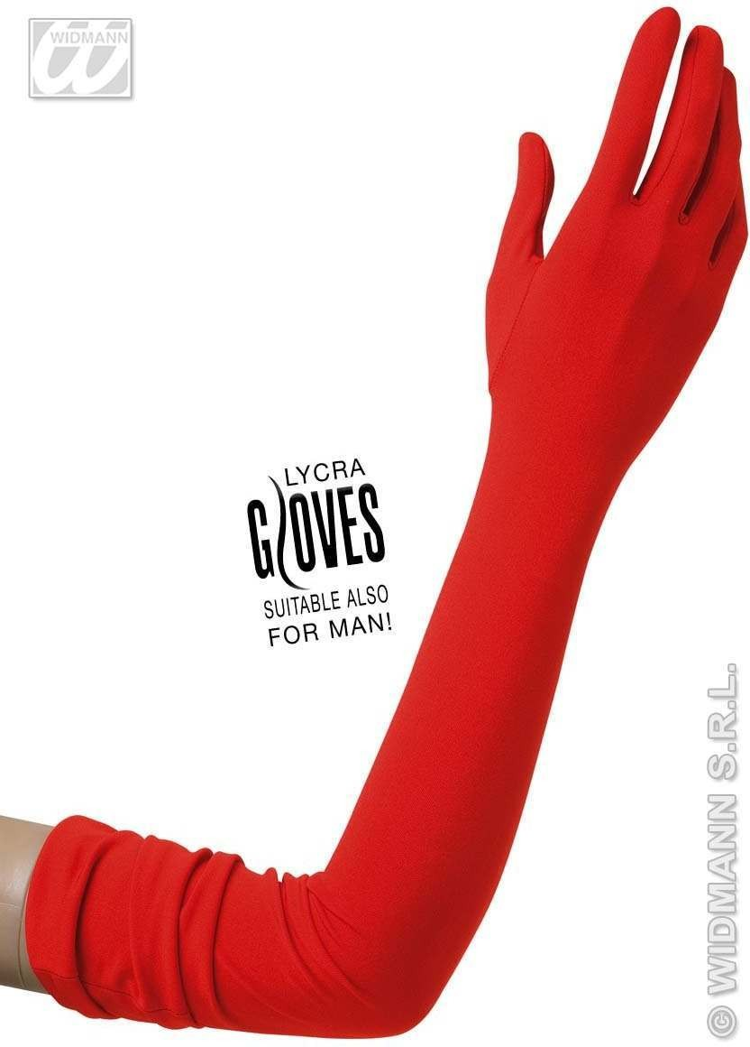 Red Lycra Gloves 60Cm - Fancy Dress