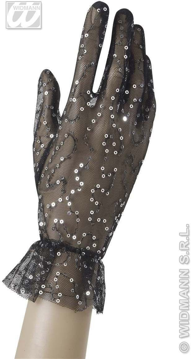 Net Black Gloves W/Sequin 25Cm - Fancy Dress