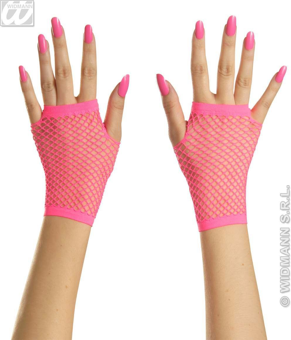 Fingerless Fishnet Gloves Neon 4 Cols - Fancy Dress