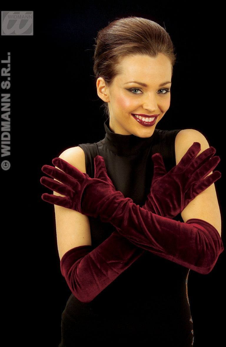 Gloves Velvet Burgundy - Fancy Dress