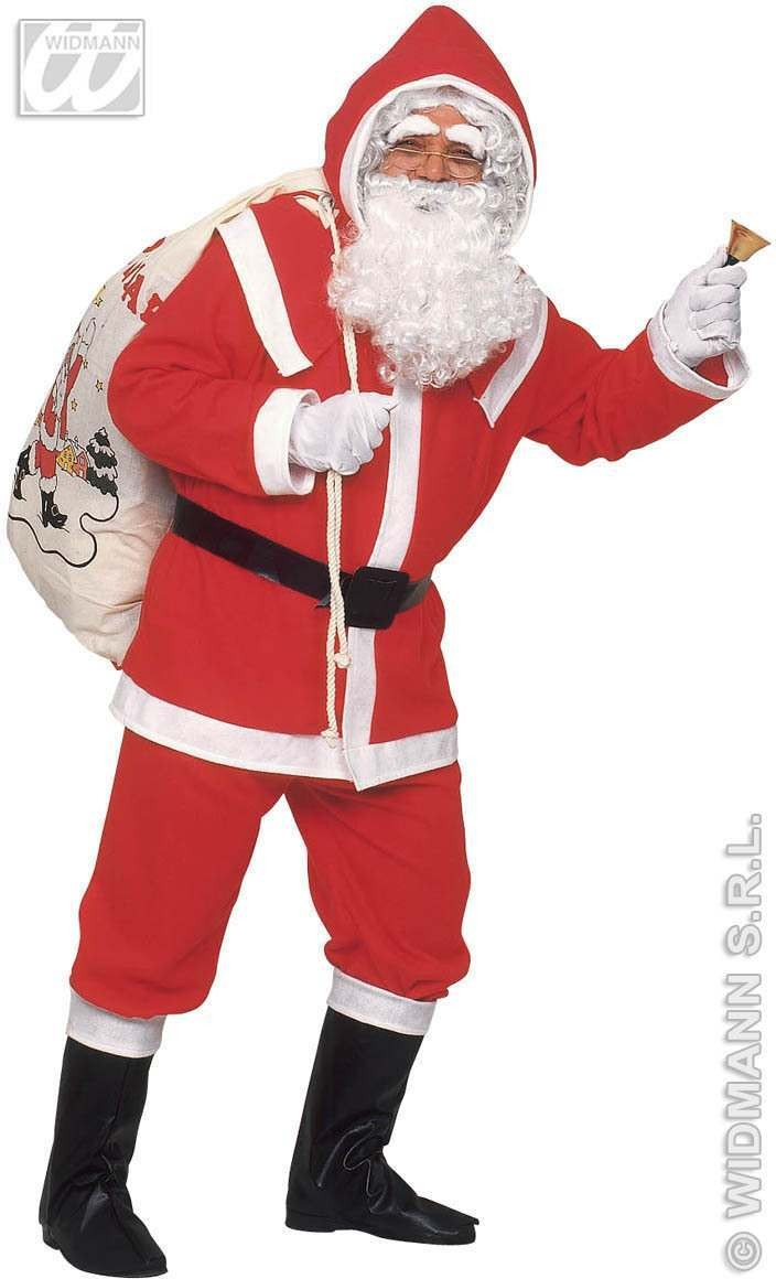 Deluxe Flannel Santa Suit Adult Fancy Dress Costume (Christmas)