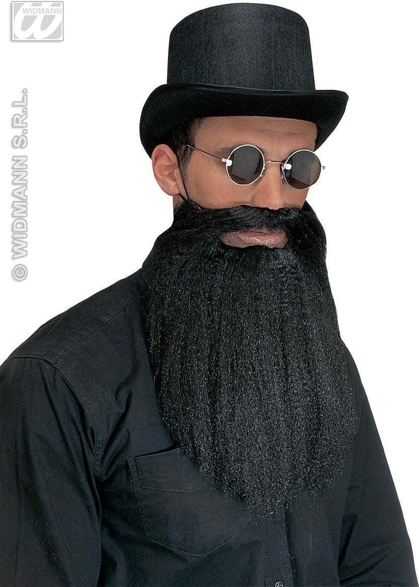 Beard W/Moustache Lips Black - Fancy Dress