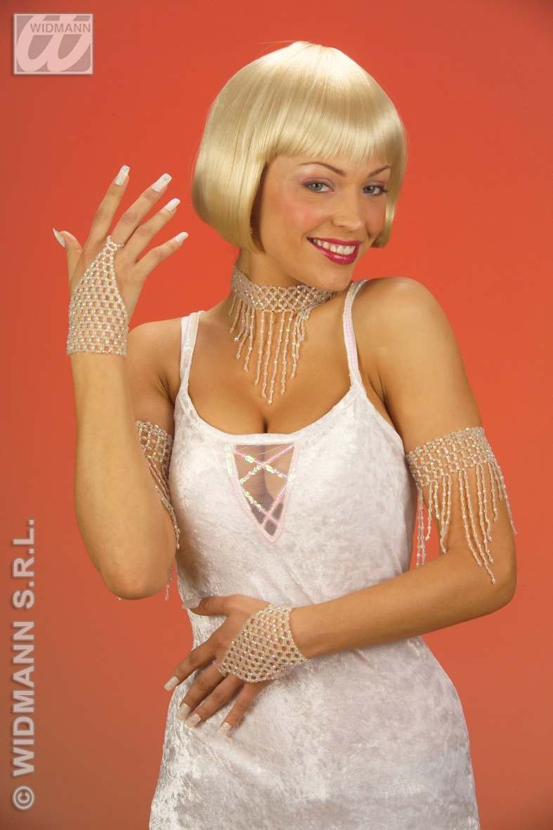 Fingerglove Beaded White - Fancy Dress