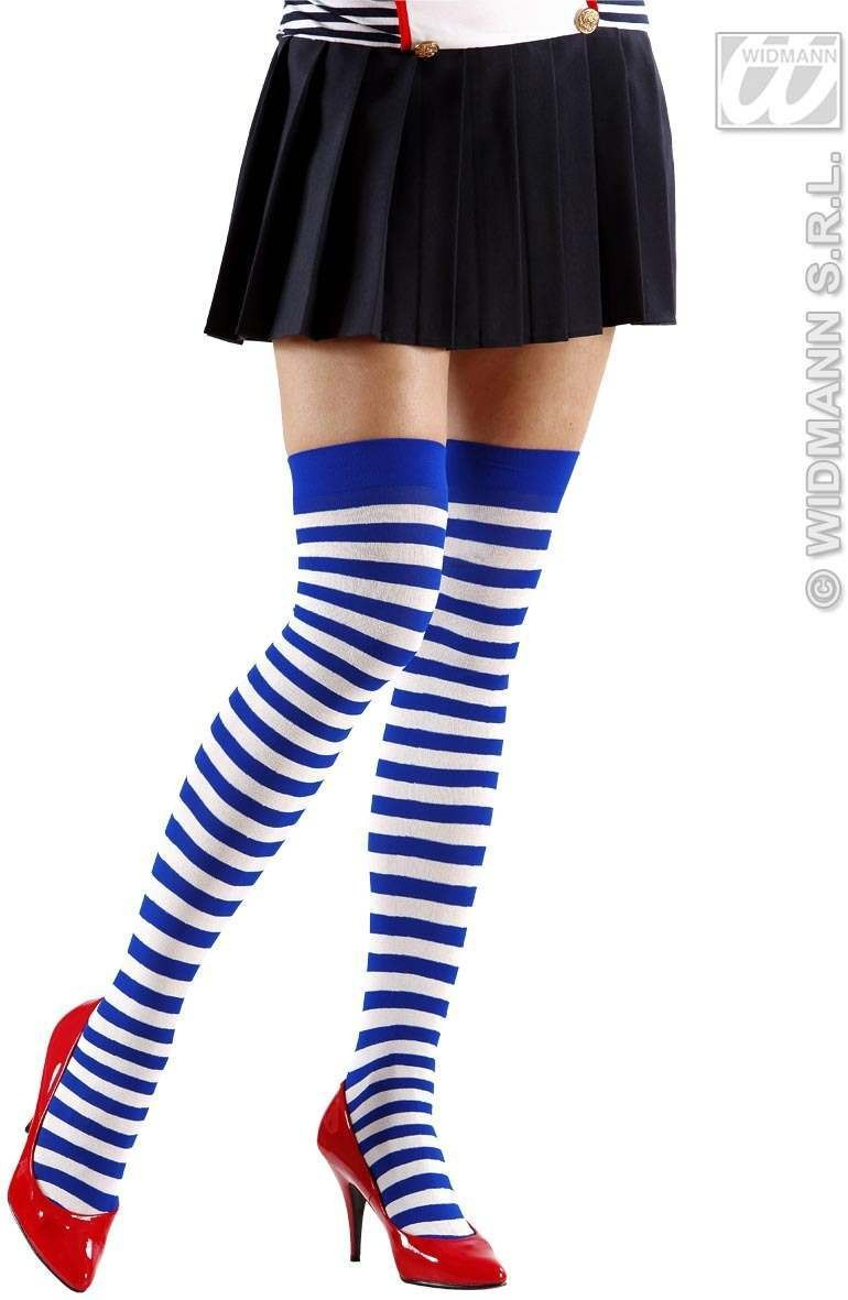 Striped Over Knee Socks 70 White - Blue - Fancy Dress