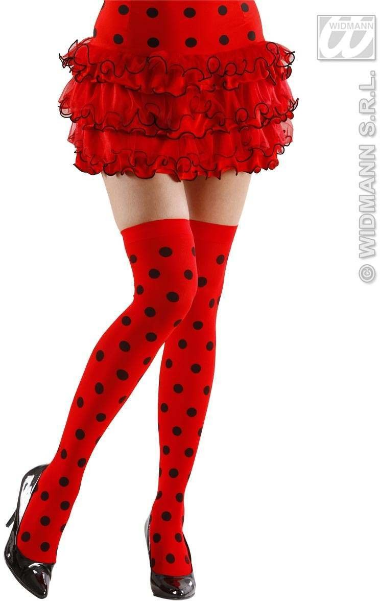 Ladybug Over Knee Socks 70 Den - Xl Size - Fancy Dress