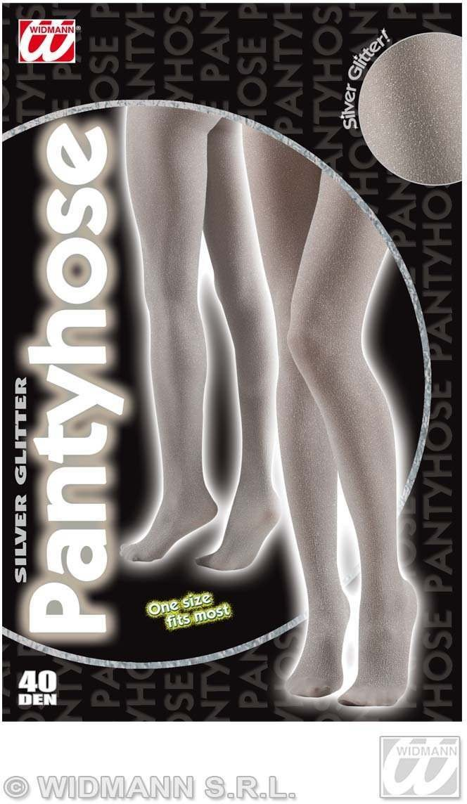 Pantyhose Glitter 40 Den Silver - Fancy Dress