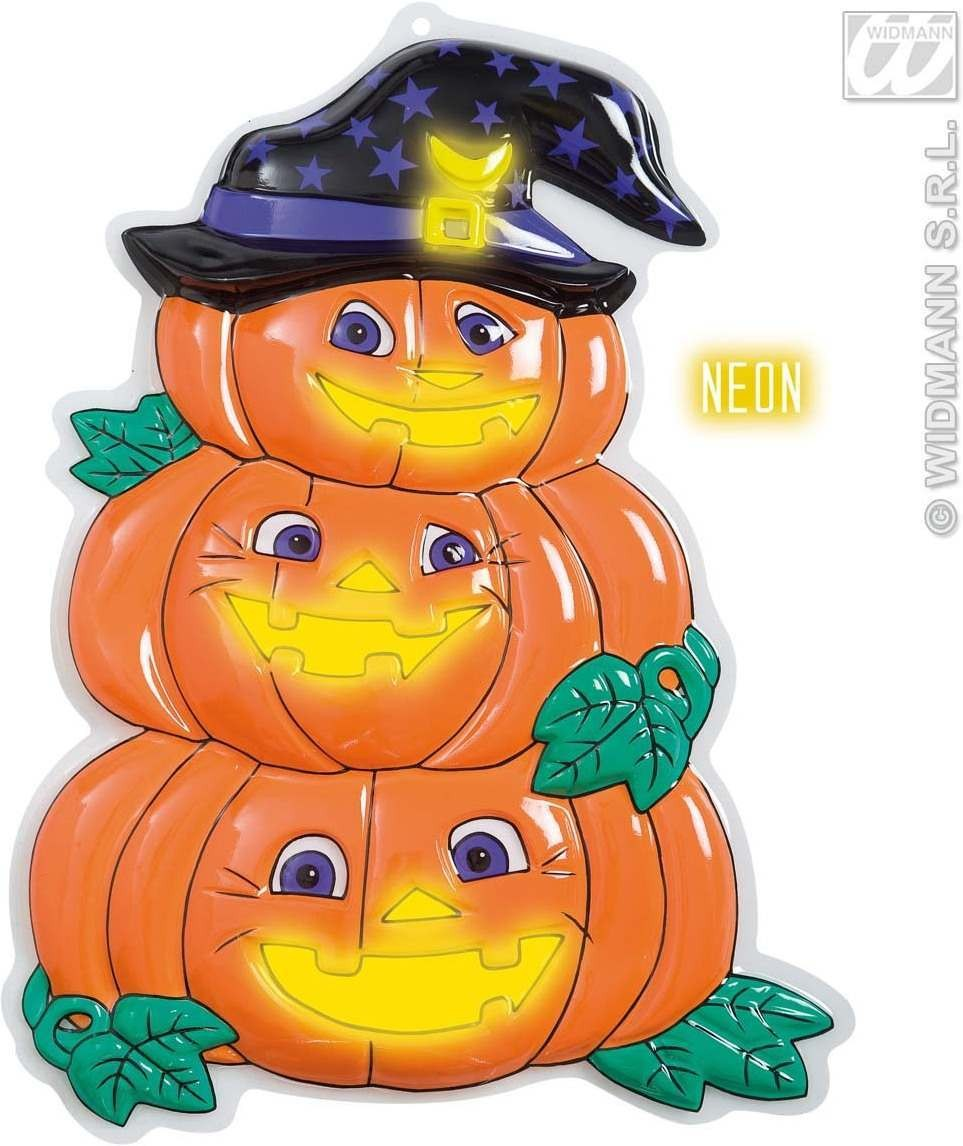 3D Neon Pumpkin Trio With Hat, 32.5X48.5Cm, Fancy Dress (Halloween)