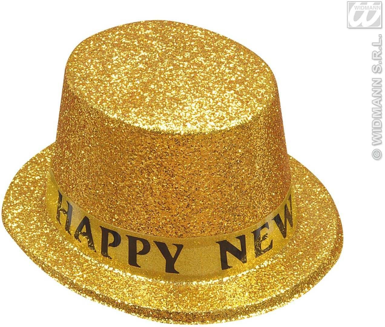 Happy New Year Gold Glitter Top Hats - Fancy Dress