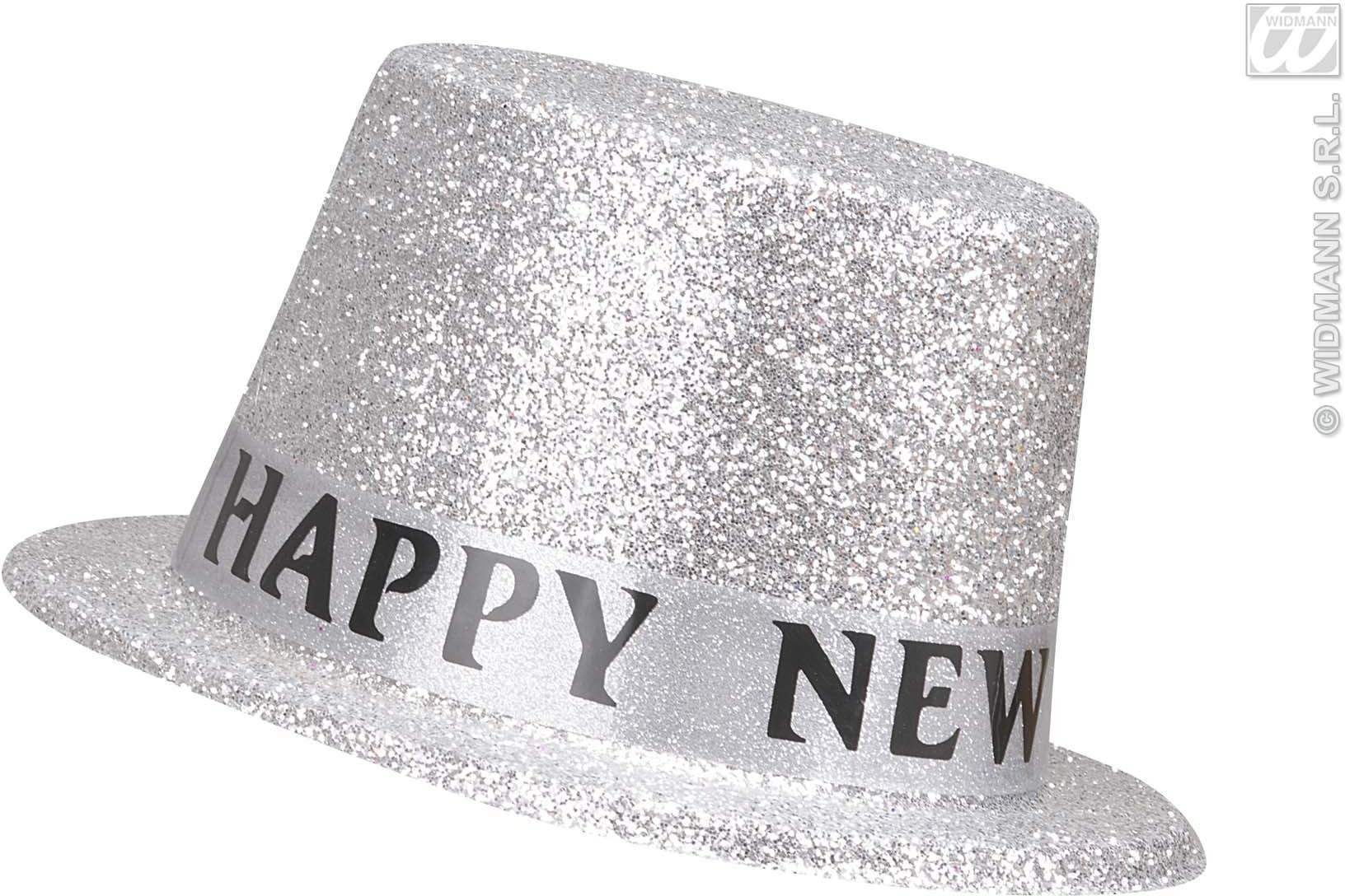 New Year Silver Glitter Top Hats - Fancy Dress