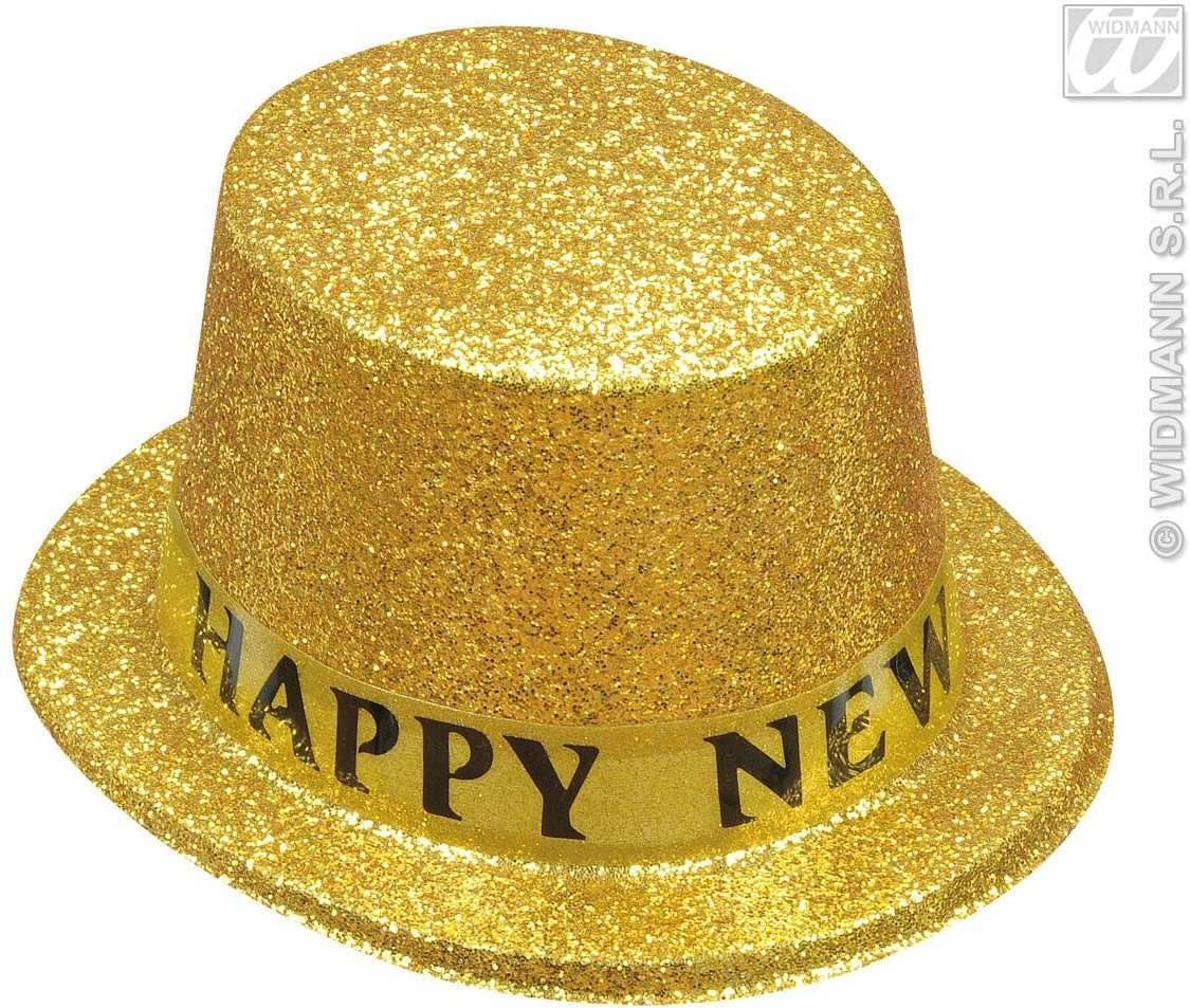 Happy New Year Glitter Top Hats 6 Cols - Fancy Dress