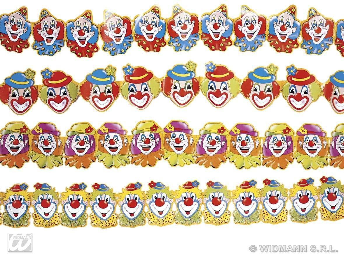Clown Paper Garland 3M 4Styles - Fancy Dress (Clowns)