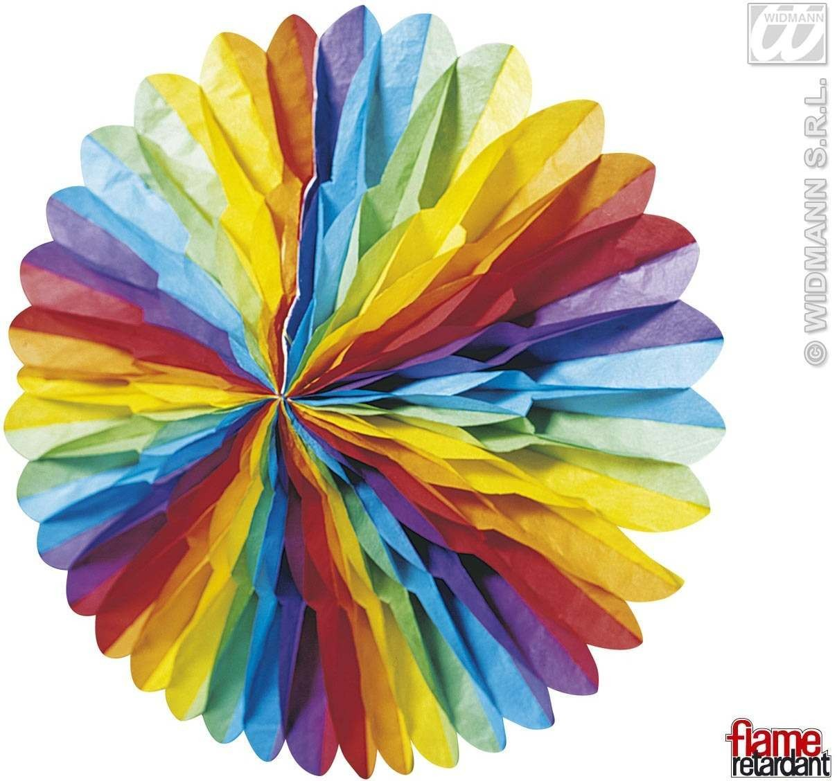 3D Multicolor Pap.Fans, Diam 75Cm Flame Ret Fancy Dress