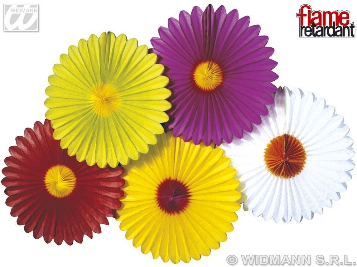 Daisy Paper Fans Flm Rtrdnt 5 Cols Asstd - Fancy Dress
