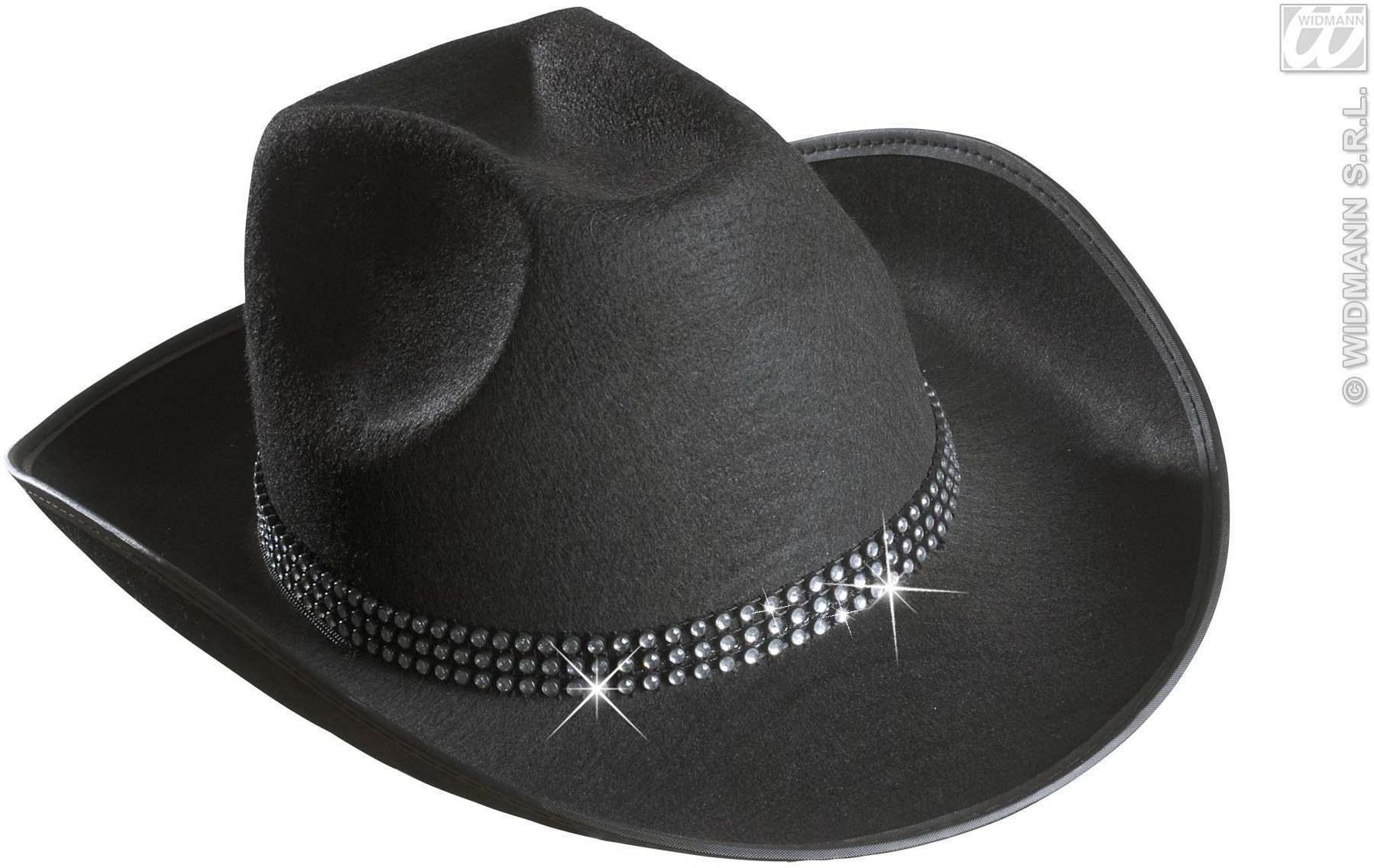 Cowboy Hat Felt W/Strass Band - Black - Fancy Dress (Cowboys/Indians)