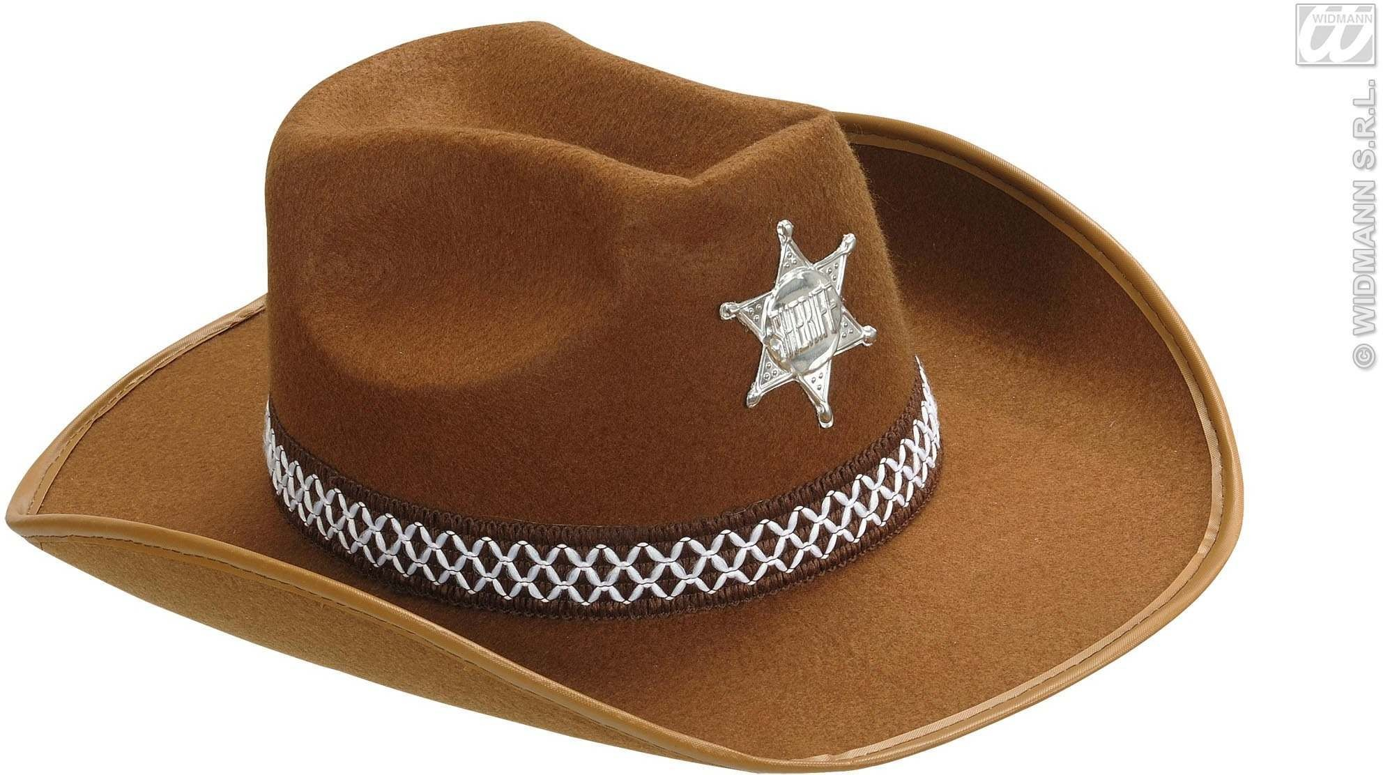 Sheriff Hat Adult Felt - Brown - Fancy Dress