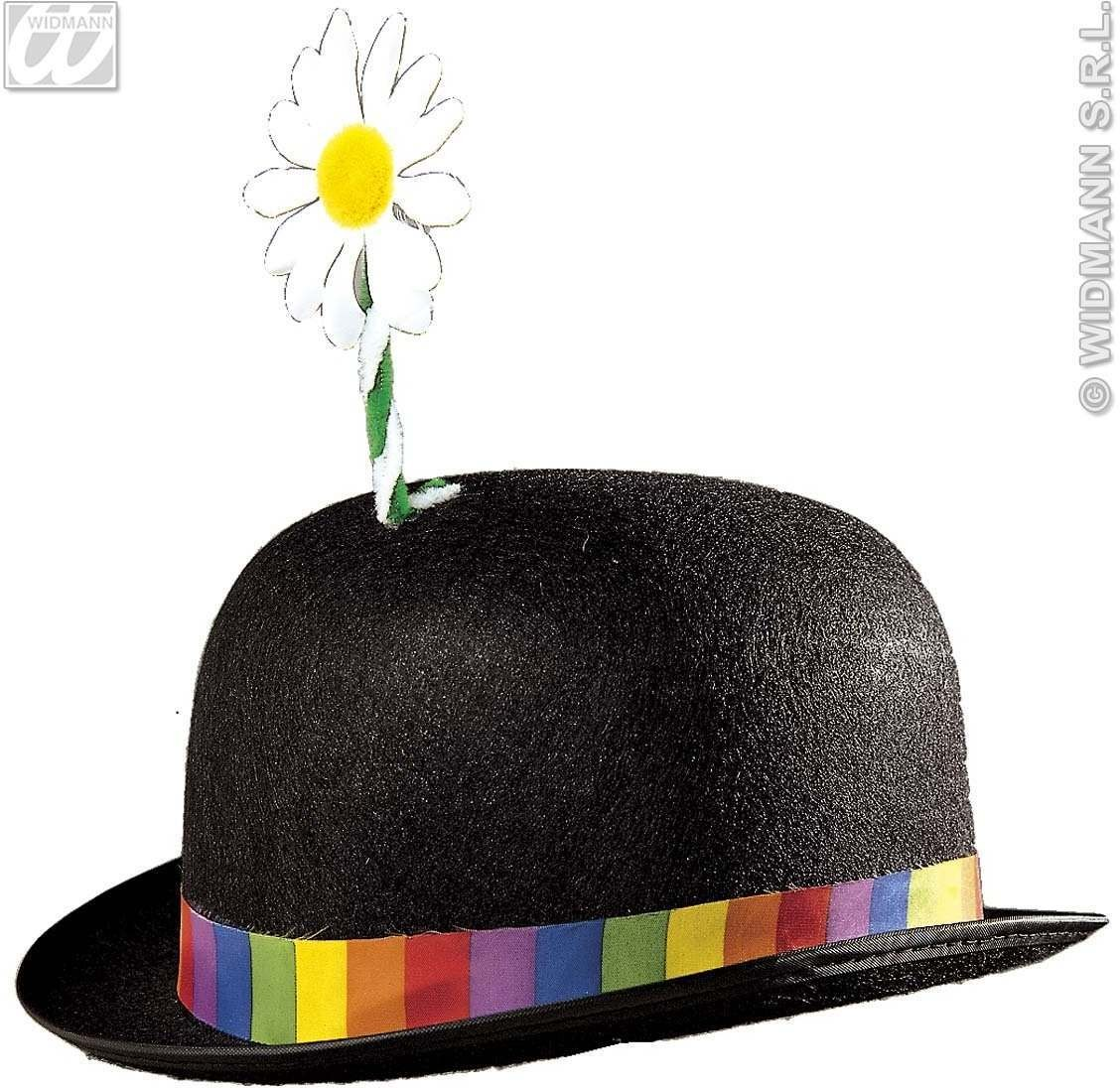 Clown Bowler Hat W/Flower 3 Cols - Fancy Dress (Clowns)