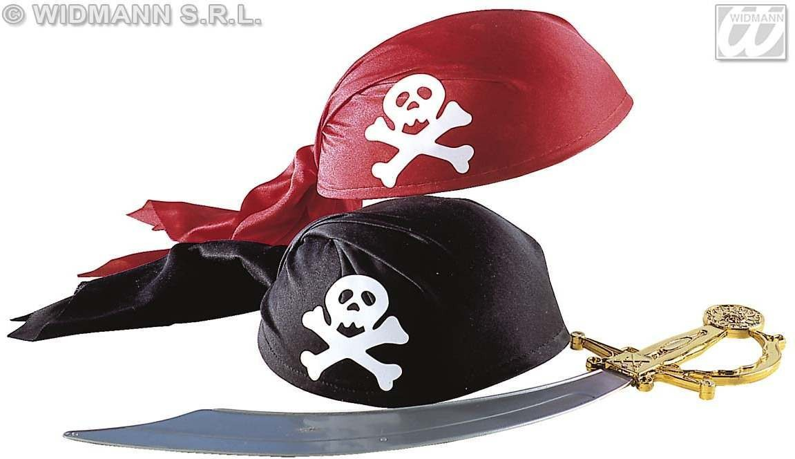 Pirate Hat Fabric Red/Black - Fancy Dress (Pirates)