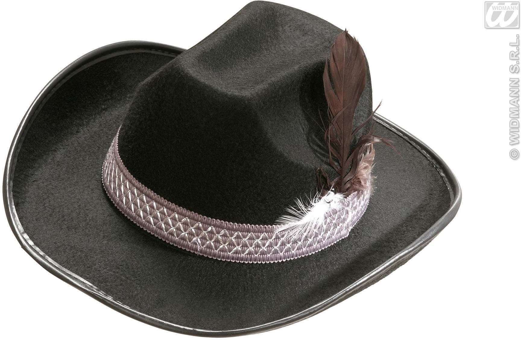 Sheriff Hat W/Feathers Adult Felt - Black - Fancy Dress