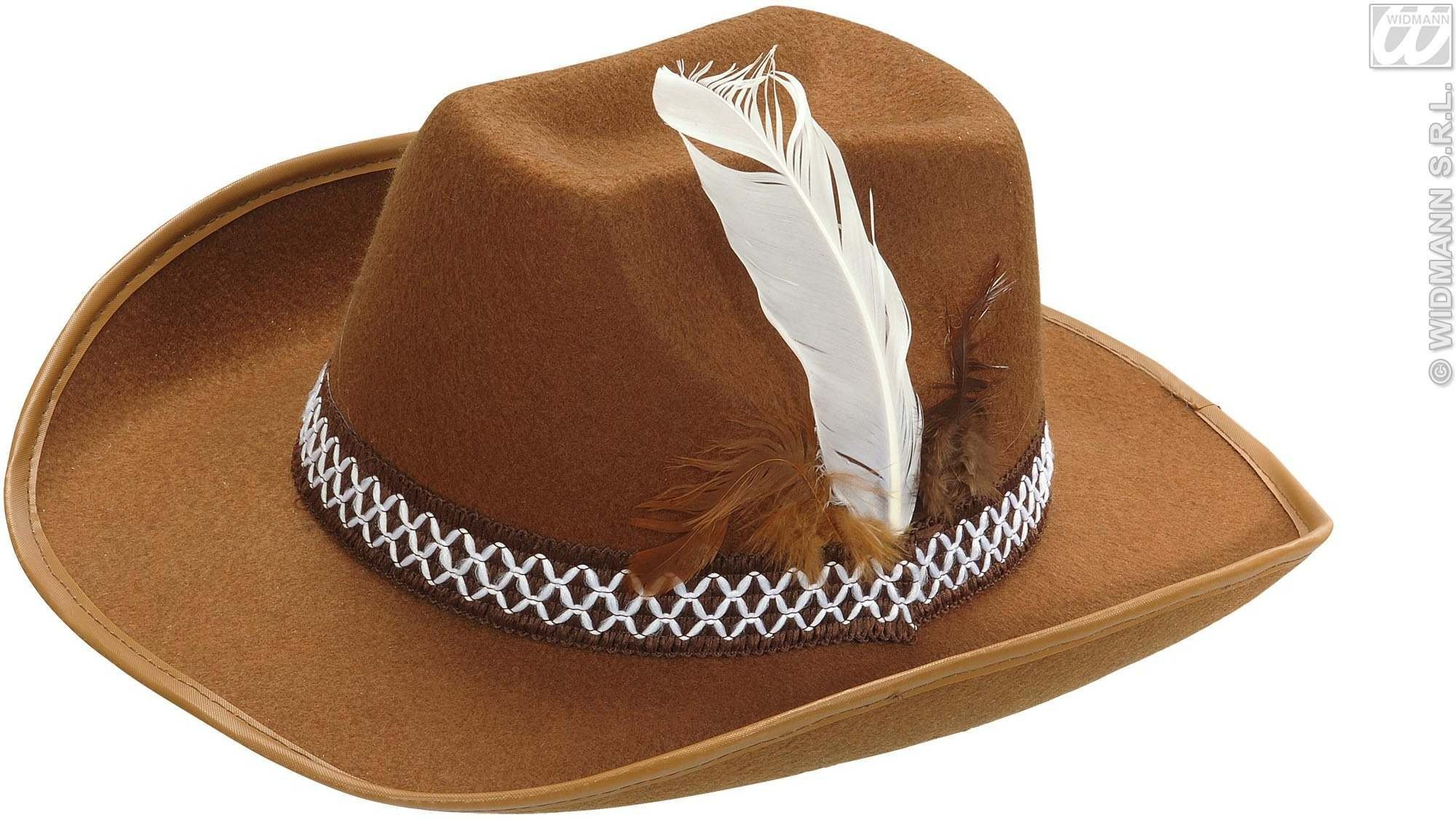 Sheriff Hat W/Feathers Adult Felt - Brown - Fancy Dress