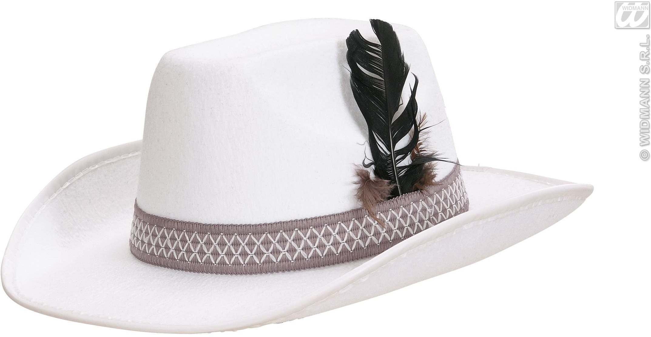Sheriff Hat W/Feathers Adult Felt - White - Fancy Dress