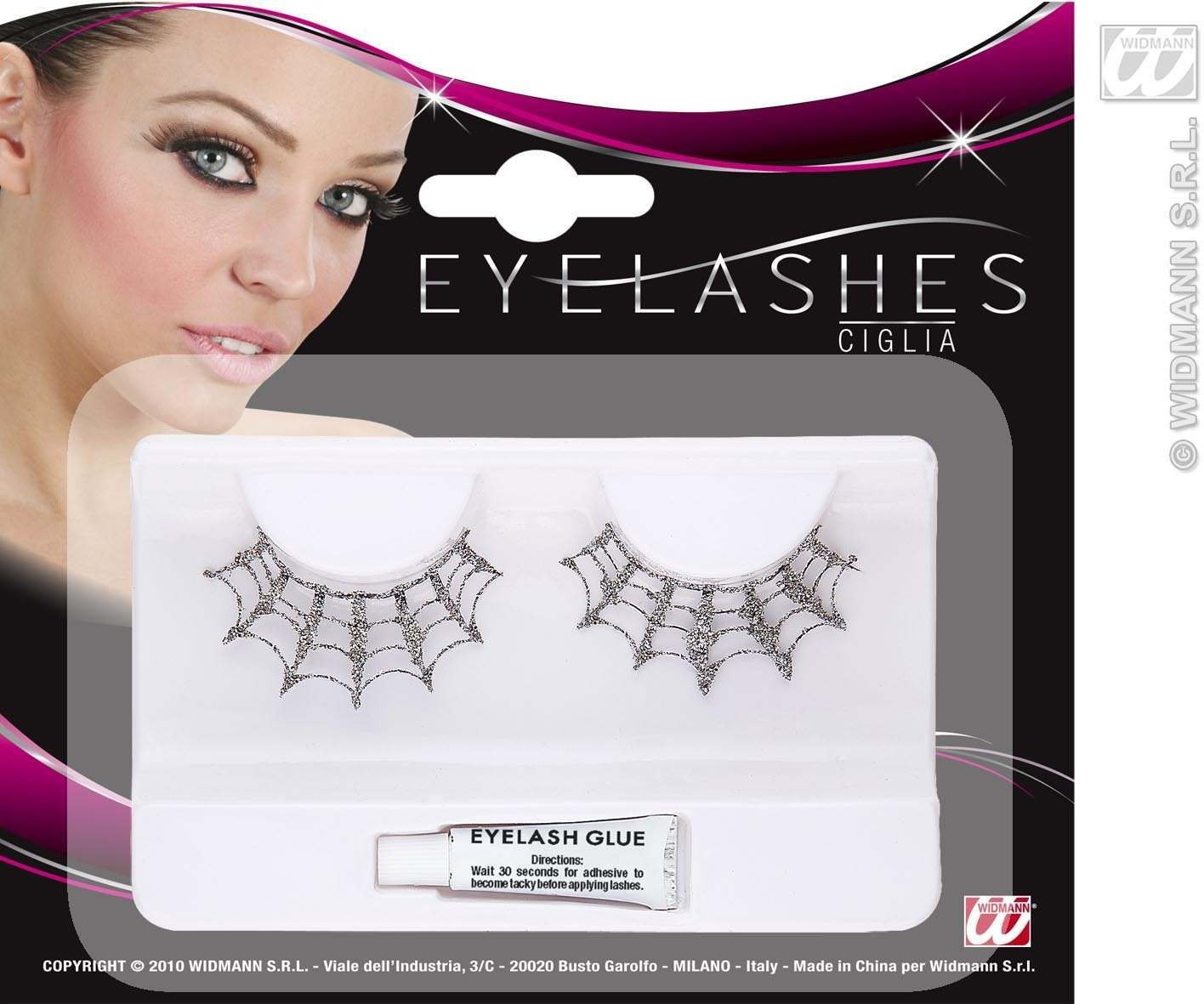 Eyelashes Silver Glitter Spiderweb - Fancy Dress
